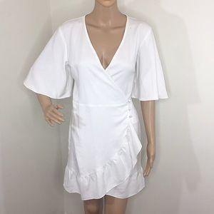 Topshop white mini wrap dress